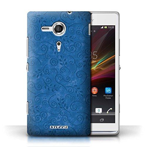 Kobalt® Imprimé Etui / Coque pour Sony Xperia SP/C5303 / Jaune conception / Série Motif Feuille Remous Bleu