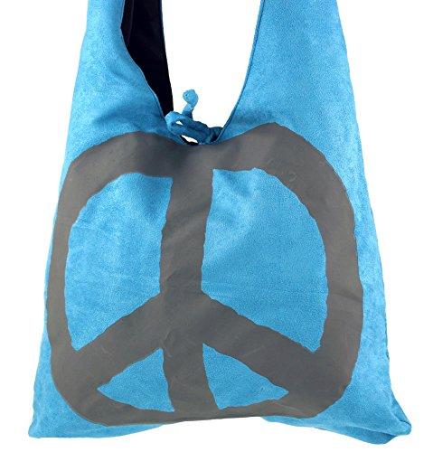Guru-Shop Sadhu Bag Peace Hippie Tasche, Goa Schulterbeutel - Blau, Herren/Damen, Kunstfaser, 30x35x20 cm, Bunter Stoffbeutel Blau