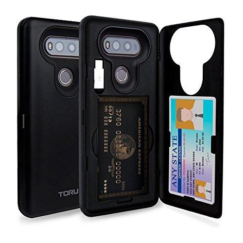 TORU CX Pro LG V20 Hülle Kartenfach mit Verstecktes Ausweis-Slot Kreditkartenhalter, USB Adapter und Spiegel für LG V20 - Matt Schwarz