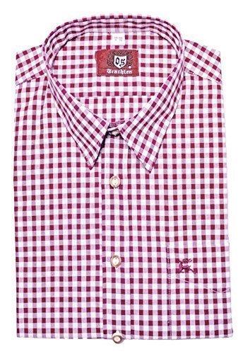 Trachtenhemd weiß rotton pink XXXL