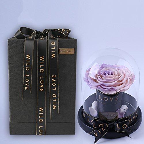 Roses,Boîte de cadeau fleur éternelle Fleurs artificielles Le jour de noël Valentin Décorations de réception Décoration Verre-C