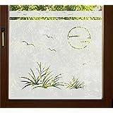 GD37 / 50cm hoch Sichtschutz Folie Bad Badezimmer Badfenster Düne Fenster Sichtschutzfolie Fensterfolie Glasdekor Sichtschutzfolie Window blickdicht wasserfest selbstklebende Folie