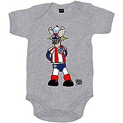 Body bebé Mazinger Z colchonero el atleti de los 80 Atlético de Madrid - Gris