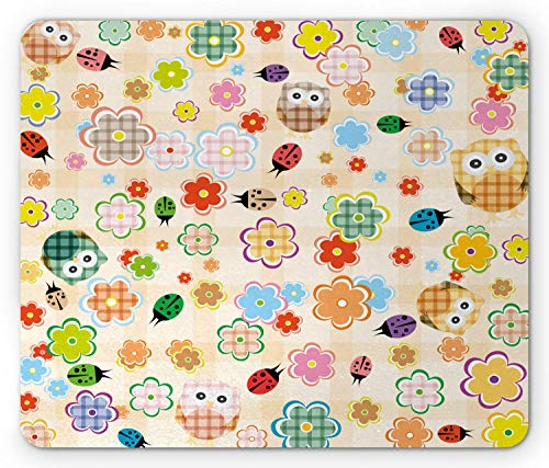 8d8feb271d2a6 SHAQ Nursery Mouse Pad Mauspads, Cute Owls and Flowers in Colorful Drawing  Style Nature Animal and Plant Life Fun, Standard Size Rectangle Non-Slip ...