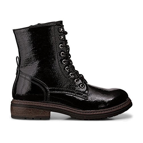 Another A Damen Damen Schnür Boots, Stiefeletten in Schwarzer Lackleder-Optik Schwarz Synthetik 39