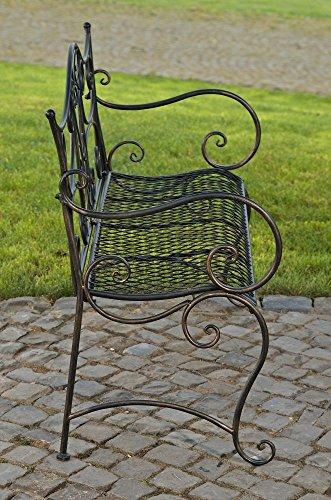 formschöne Gartenbank im Landhausstil aus Eisen / Metall Sitzbank mit Ornamenten bronzefarben 2-3er Parkbank Antikes Design - 4