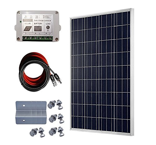 ECO-WORTHY 100 W Poly Starter Kit: 100 Watt Solar Panel + Solar Cable + 15 Amp PWM Charge Controller + Z Bracket Mounts - Power Roof Mount