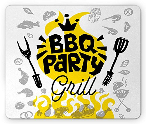 BBQ Party Mouse Pad, BBQ Party Grill Typography with Utensils Various Types of Meat Greyscale, Standard Size Rectangle Non-Slip Rubber Mousepad, Grey Black Yellow 9.8 X 11.8 INCH