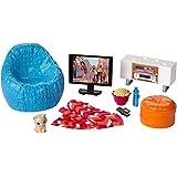 Mattel Barbie DVX46, decoración de esquina de TV y sillón, accesorios para muñecas de vestir