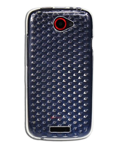 Luxburg® Diamond Design Schutzhülle für HTC One S in Farbe Bergkristall Weiß, Hülle Case aus TPU Silikon