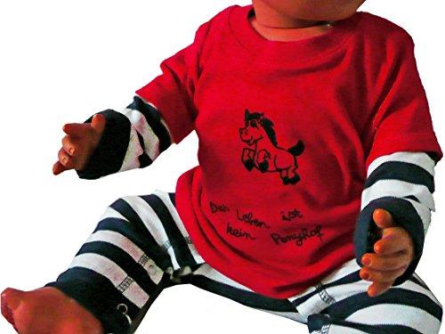 Das Leben ist kein Ponyhof. Bio T-Shirt Baby, rot. Mit Handsiebdruck.
