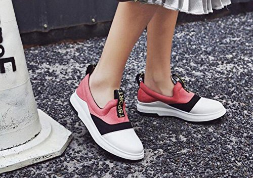 GLTER Femmes Chaussures de sport de plein air Combat Couleur Chaussures de pêcheur Chaussures décontractées Lettres épaisses Chaussures de skate Loisirs Fitness Yellow Mino Pink