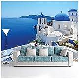azutura Weißes Gebäude Fototapete Blaues Meer Tapete Santorini, Griechenland Wohnkultur Erhältlich in 8 Größen Riesig Digital