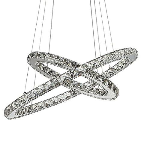 Lustres Plafonniers Cristal, Crystal Pendentif Plafonnier 2 anneaux Diamètre: 30CM + 50CM , white light , A