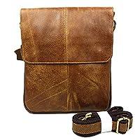 BAIGIO Men's Distressed Leather Messenger Bag Slim Satchel Cross Body Shoulder Bag (Brown)