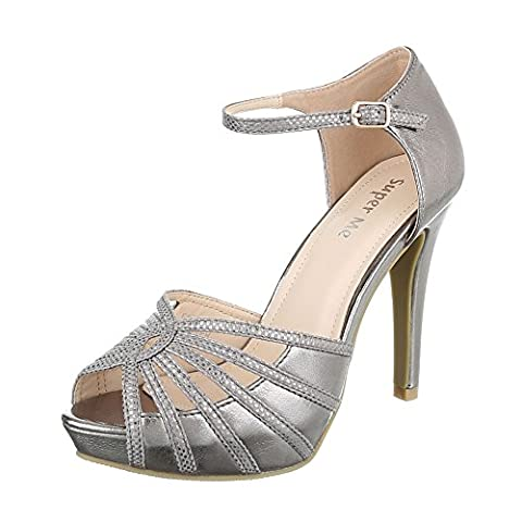 High Heel Sandaletten Damen-Schuhe Plateau Pfennig-/Stilettoabsatz High Heels Schnalle Ital-Design Sandalen / Sandaletten Silber Grau, Gr 36, F128-