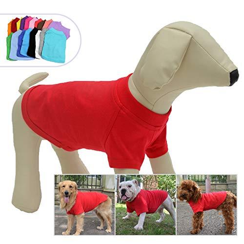 lovelonglong Hund T-Shirt Party Kostüm Atmungsaktive Baumwolle Einfarbig Kurzarm T-Shirt für Große, Mittelgroße, Kleine Hunde Red L