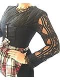 Lia Bluse, Dirndlbluse, Gr. 38/40 Kann auch ohne Dirndl getragen werden, schwarz, Baumwolle, Spitze lange Ärmel, super modern, tolles Geschenk, lange Bluse, extravagant, Tracht, Trachtenbluse