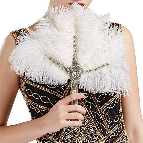 Coucoland Feder Blumenstrauß Hochzeit Braut Brautjungfer Bouquet 20er Jahre Feder Handfächer Accessoires Damen 1920s Gatsby Kostüm Zubehör (Weiß - Stil 2)