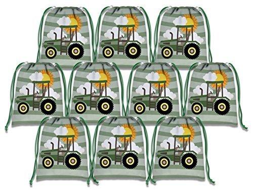 Farm Grün Traktor Zeit Kordelzug Staubbeutel Kids Birthday Party Supplies Favor Taschen 10Stück