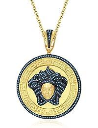 "Silvernshine 1.25 Ct Round Cut Aquamarine Versa Pendant 18"" Chain In 14K Yellow Gold Over"