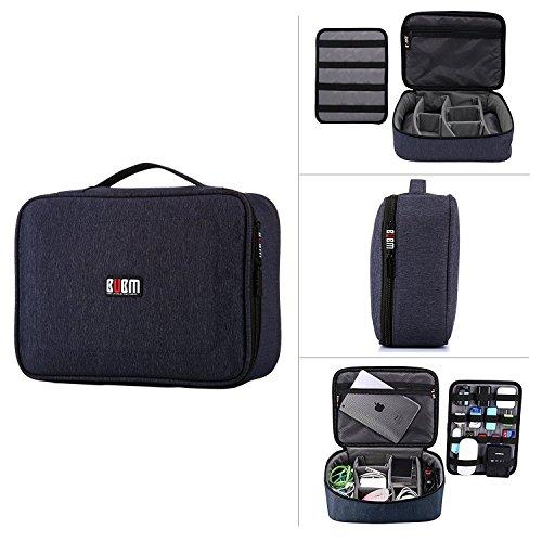 BUBM Bolsa para Electrónica Organizador de Accesorios Adaptador de Cables Bolsa Cargador,Gadget de Memoria USB Bolsillo para iPad Mini Impermeable a Prueba de Golpes, Multifunción de Almacenamiento Funda de Transporte (Azul)