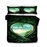 Bettwäsche Set Bettbezug und Kissenbezug Original Wald Stil Bettwäsche mit Verdecktem Reißverschluss 100% Polyesterfaser (Liebesbaum, 135 x 200 cm)