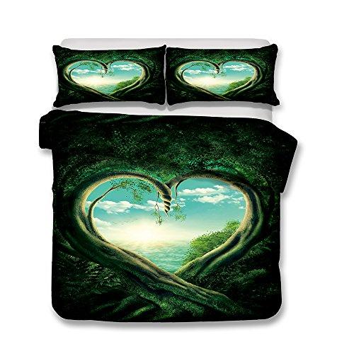 Bettwäsche Set Bettbezug und Kissenbezug Original Wald Stil Bettwäsche mit Verdecktem Reißverschluss 100% Polyesterfaser (Liebesbaum, 220 x 230 cm)