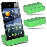 ( Green ) Huawei Ascend Y540 Hülle Abdeckung Cover Case schutzhülle Tasche Custom Made Micro-USB-Desktop Charging Dock Mount Stand von ONX3®