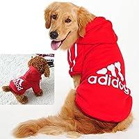 WaWa con capucha para mascotas super suave de algodón con adidog impresión (rojo, 3XL)