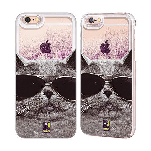 Hülle + Folie + Violett Eingabestift Harte Rückseite Schutzhülle für Apple iPhone 5/5S/SE Liquid Glitzer Katze/Kitty/Kätzchen mit Sonnenbrille
