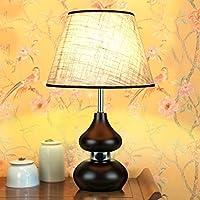 wysm Semplice cinese classico comodino zucca lampada da tavolo solido tessuto di legno camera da letto caldo LED Soggiorno Studio Lampade ( colore : Interruttore a pulsante