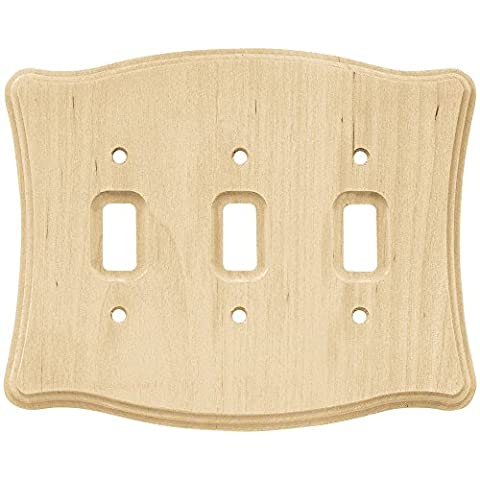 Franklin Brass 64646 Wood Scalloped Triple Toggle Switch Wall Plate / Switch Plate / Cover,
