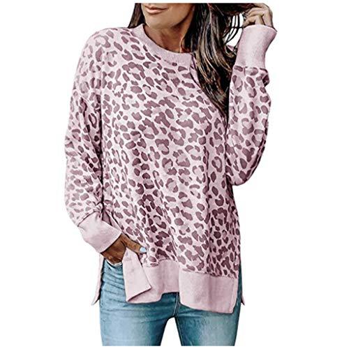 Damen Tunika Tops Leopardenmuster Shirt Langarm Rundhals Bluse Tops Freizeitmode Pullover Tops T-Shirt -