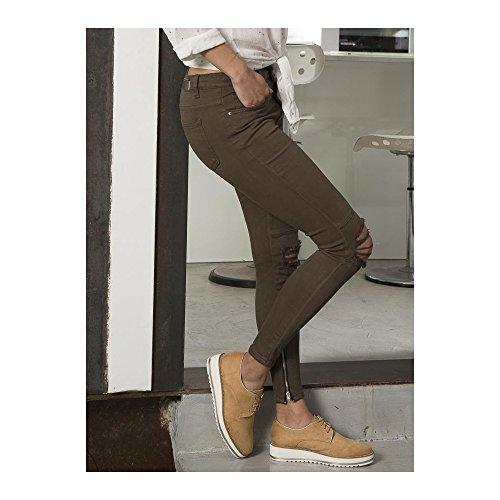 Ideal Shoes Damen Jeanshose Taupe