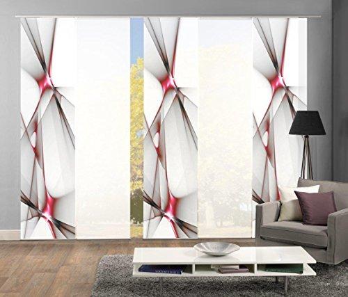 Home Fashion Set-Angebot Flächenvorhang KINGFIELD   wahlweise 3er-, 4er-, 5er oder 6er-Set in blau, rot oder apfelgrün   bestehend aus Motiv- und Uni-Flächenvorhängen   je 245x60 cm (5, rot) (Flächenvorhänge Rot)