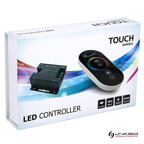 LinkSquare Profesional Panel Táctil RF Inalámbrico del Mando a Distancia + CC 12V / 24V 18A 432W RF Dimmer Controlador para Tiras de iluminación RVA (RGB) LED SMD Luz