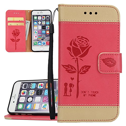 Hülle für iPhone 6S Plus, Tasche für iPhone 6 Plus, Case Cover für iPhone 6 Plus, ISAKEN Blume Schmetterling Muster Folio PU Leder Flip Cover Brieftasche Geldbörse Wallet Case Ledertasche Handyhülle T Rose Kinder Rot