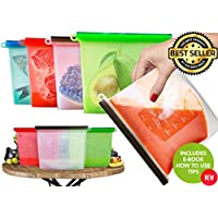 Large Freezer Bags Reusable Food Bags Kitchen Storage Fridge Organisers Reusable Food Storage Reusable Sandwhich Bags Zip Top Containers Silicone Food Bags