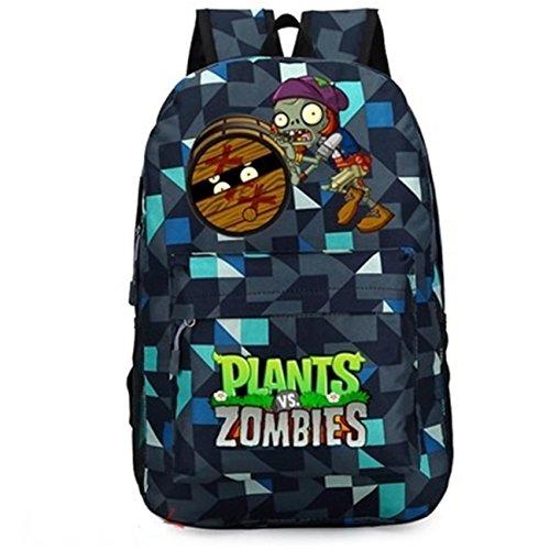 augyuess Spiel Schule Rucksack Tasche Daypack Schultasche Laptop Tasche Rucksack für Pflanzen Vs. Zombies Cosplay Blau Blue 4 X-Large - 4 Taschen Tote-leinwand-tasche