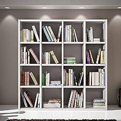 Conjunto de salón compuesto por Librería acabado blanco poro abierto, estilo moderno, en mdf laminado y estructura de acero - Medidas 175 x 30 x 132