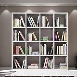 Libreria bianco frassinato, stile moderno, in mdf laminato e struttura in acciaio - Mis. 175 x 30 x 175 immagine