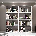 Giò Luxury Soggiorno Storage Composto da libreria Bianco Finitura con pori Aperti, Stile Moderno, in MDF Laminato e Struttura in Acciaio–Mis. 175x 30x 175