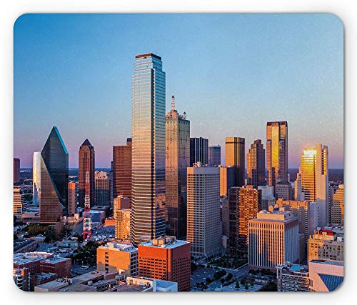 WYICPLO United States Mouse Pad, Dallas Texas City with Blue Sky at Sunset Metropolitan Finance Urban Center, Standard Size Rectangle Non-Slip Rubber Mousepad, Multicolor Memo Center