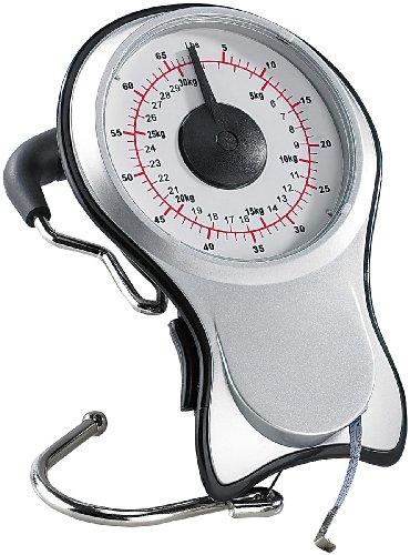 PEARL Analoge 2in1-Kofferwaage bis 30 kg mit ausziehbarem Maßband (Tasche Pearl)