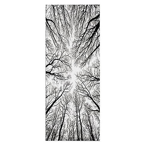 MCC MT032 Unisex 3D Bäume Silhouette Selbstklebend Wasserdicht DIY Türbild Türaufkleber Türposter , grey