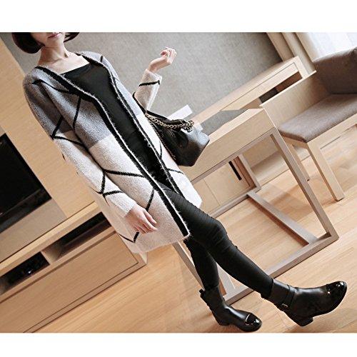 Spritech (TM)-Secondo le donne s Cardigan a maniche lunghe, serie Supereroi americani con il mantello felpa rimovibile, Cardigan, a maglia, Gray and White, Size:L