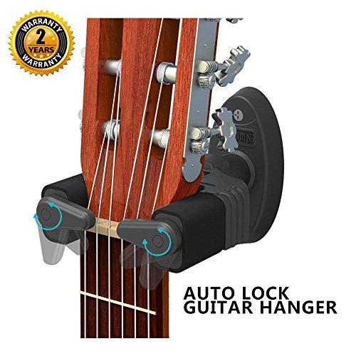 Gitarrenhalter zum Anbringen an der Wand mit automatischer Verriegelung, Klemmen für Gitarren jeder Größe, für Bassgitarren, akustische Gitarren, Mandolinen und Banjos, leichte Installation, Modell Compact von Aroma