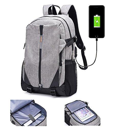 lemongirl Slim Laptop-Rucksack, Laptop Taschen mit Kopfhörer Port und USB Anschlüsse, die Reise BACKPCK für Damen und Herren grau grau Einheitsgröße (Bestickte Tote Tasche Personalisierte)