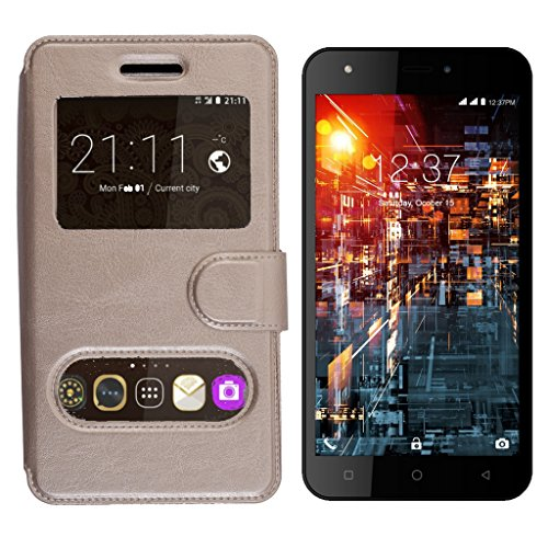 Shopme Premium PU Leather Flip cover for Micromax Bolt A71 (Caller ID Window, 360 degrees Viewing, Full Protection for camera Mobile, Slider for Taking Snaps)(Brown Color)  available at amazon for Rs.239